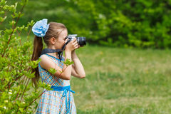 Teenager girl photographer at green forest. Girl is taking pictures in green forest stock photos