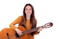 Teenager girl playing a guitar stock photos