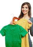 Teenager girl portrait hold casual clothes isolate. D on white background Stock Photography