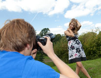 Teenager girl posing in the park Stock Photography