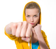 Teenager girl punching Stock Photography