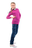 Teenager Girl In Purple. On The Movie. Stock Photo