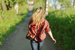 Teenager girl in red shirt Royalty Free Stock Photo