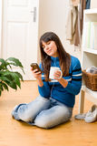 Teenager girl relax home - listen to music Royalty Free Stock Photography