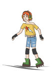 Teenager girl on roller skates Royalty Free Stock Photography