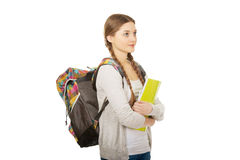 Teenager girl with school backpack. Royalty Free Stock Photography