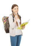 Teenager girl with school backpack. Royalty Free Stock Image