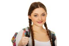 Teenager girl with school backpack. Stock Photo