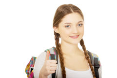 Teenager girl with school backpack. Stock Images