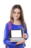Teenager girl with schoolbag and digital tablet Royalty Free Stock Photography