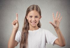 Teenager girl showing 6 fingers Stock Photos