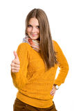 Teenager girl shows a thumbs up Royalty Free Stock Photography