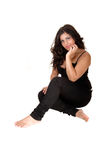 Teenager girl sit on floor. Royalty Free Stock Photos