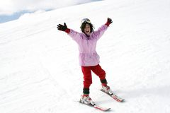 Teenager girl on ski vacation stock photography