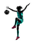 Teenager girl soccer player isolated silhouette Stock Image