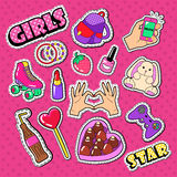 Teenager Girl Stickers, Patches and Badges. Woman Fashion Doodle with Hands, Lipstick and Strawberry royalty free illustration
