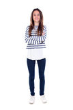 Teenager girl with striped t-shirt and her arms crossed Stock Photography