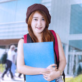 Teenager girl student at school Royalty Free Stock Image