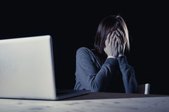 Free Teenager Girl Suffering Cyberbullying Scared And Depressed Exposed To Cyber Bullying And Internet Harassment Stock Photography - 69378812
