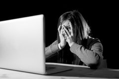 Teenager girl suffering cyberbullying scared and depressed exposed to cyber bullying and internet harassment Royalty Free Stock Photos