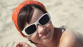 Teenager girl in sunglasses smile stock video footage