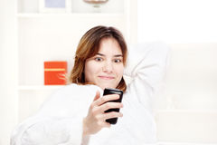 Teenager girl surprised looking at cell phone Stock Images