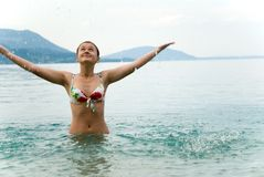 Teenager girl swimming Stock Image