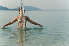 Teenager girl swimming Stock Photo