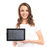 Teenager girl with a tablet computer. Different world languages Royalty Free Stock Images