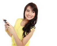 Teenager girl texting message Stock Photography