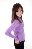 Teenager girl in violet sweater Stock Photography
