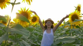 Teenager girl walk around field with sunflowers and enjoy the fresh air in slow motion. Teenager girl walk around the field with sunflowers and enjoy the fresh stock video