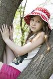 Teenager girl wearing panama Stock Photos
