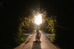 Teenager girl in wedding dress. In nature green park with and sunset light Stock Image