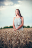 Teenager girl at wheat field Stock Photography
