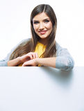 Teenager girl with white blank board. White backgr Royalty Free Stock Photos