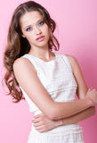 A teenager girl in white dress Stock Photos