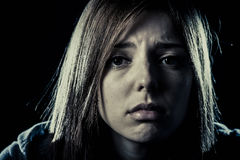 Teenager girl or woman in stress and pain suffering depression looking sad royalty free stock photos