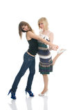 Teenager girls learning to dance Royalty Free Stock Images