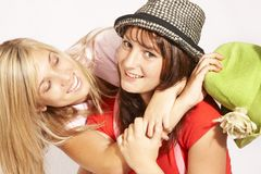 Teenager Girls playing stock photo