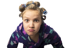Teenager girls playing Housewives, do yourself hairstyles and makeup having fun Stock Photos