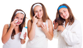 Teenager girls primping Royalty Free Stock Image