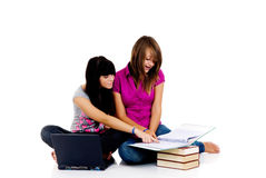 Teenager girls studying. With computer and books on white background Stock Image