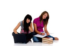 Teenager girls studying Stock Photos