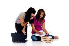 Teenager girls studying Stock Photography