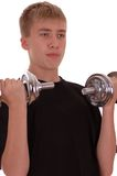 Teenager goes in for sports. Royalty Free Stock Photos