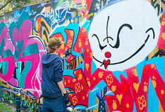 Teenager graffiti painter Royalty Free Stock Photography