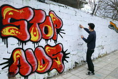 Teenager Graffitti Stock Photography