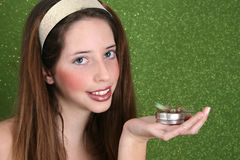 Teenager on Green Royalty Free Stock Photos