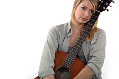 Teenager with guitar Stock Image